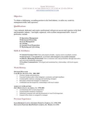 CV sample for a restaurant business plan
