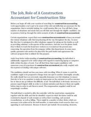 Duties of an accountant in a construction company