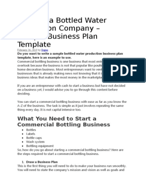 How to write a business plan for a bottled water company