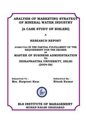Launch of a bottled water plant: marketing study