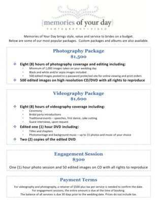 Price for a wedding photography service