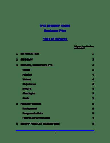Shrimp farm business plan