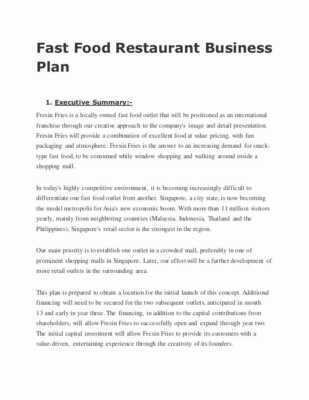 Writing a business plan for a restaurant