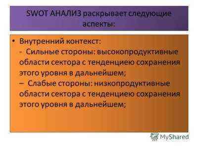 SWOT анализ бизнес-плана сохранения имущества