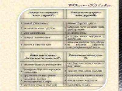 SWOT-анализ бизнес-плана птицеводства