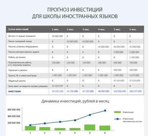 Образец шаблона бизнес-плана языковой школы